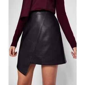 Zara Woman Black Vegan Leather Asymmetrical Skirt